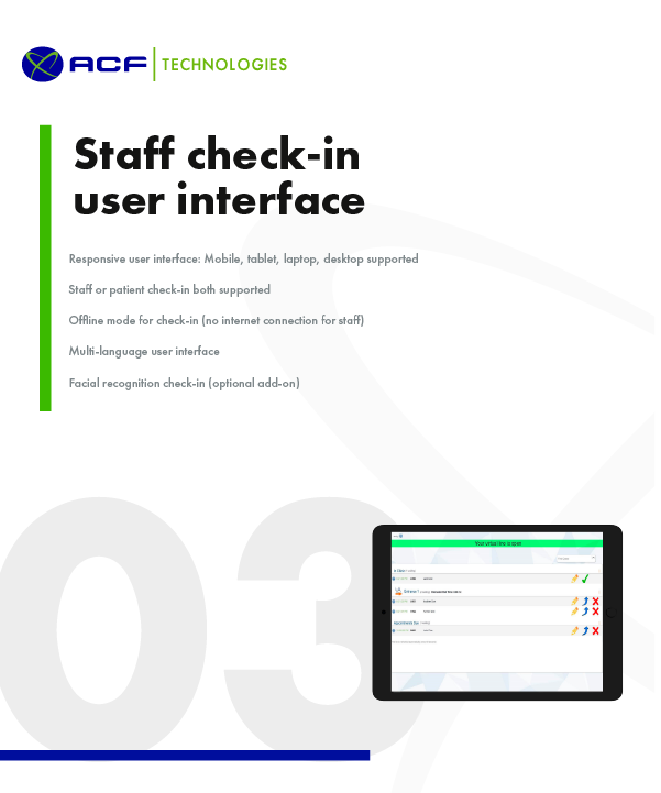 Healthcare staff check-in user interface